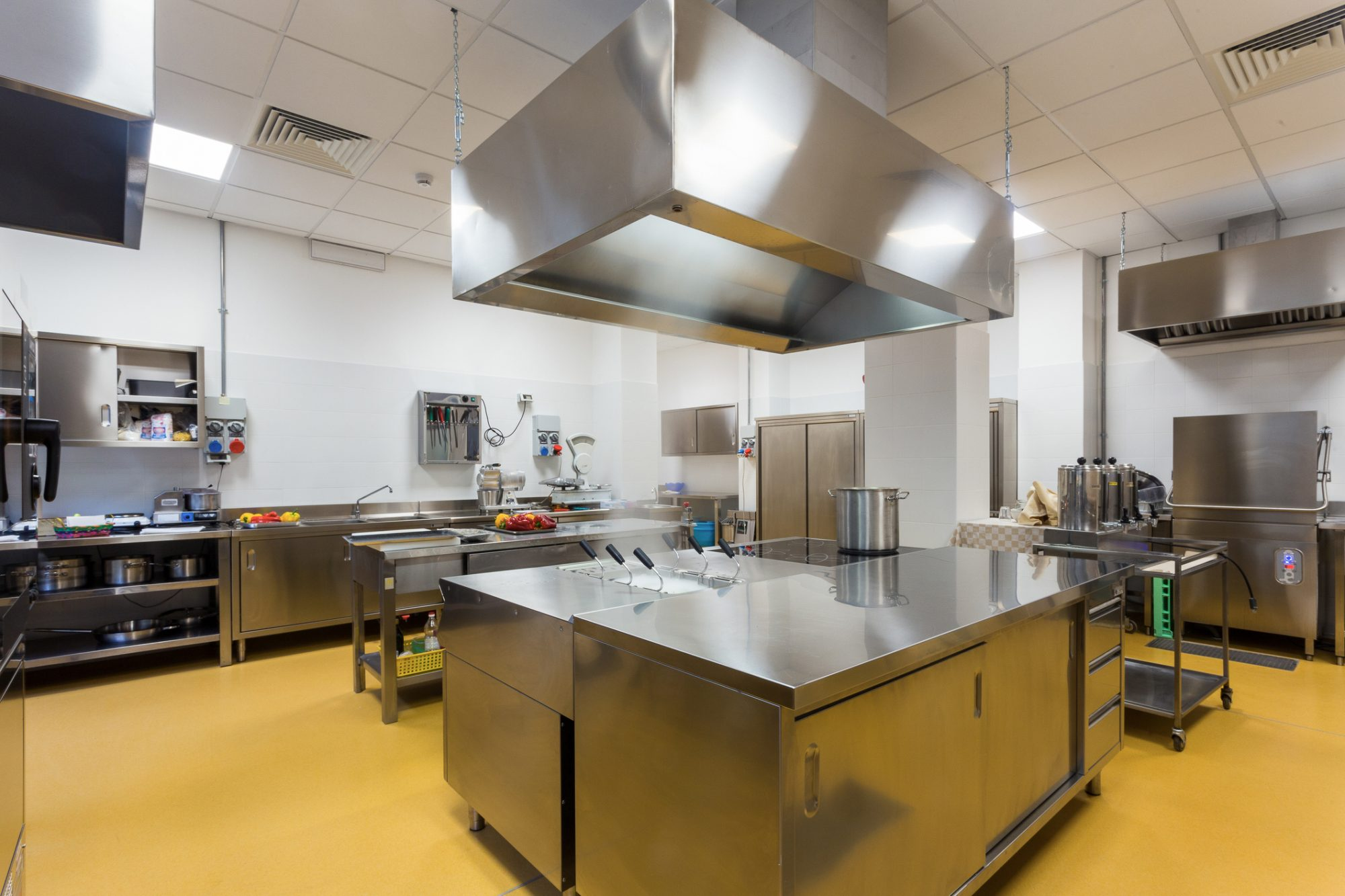 Commercial kitchen with stainless appliances